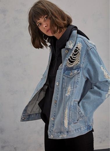 Pi π Yırtık Detaylı Jean Ceket Mavi